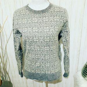 J. Crew Gray Snowflake Lamb Wool Sweater